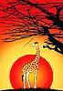 Векторный клипарт: Жираф на закате