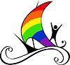 Лодка с парусом в виде радуги | Векторный клипарт