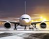 비 비행 날씨에 비행기 | Stock Foto