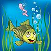 Lustiger Fisch und Wurm