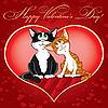 Valentinstagkarte mit Katzen