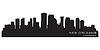 뉴 올리언스, 루이지애나 스카이 라인. 자세한 실루엣 | Stock Vector Graphics