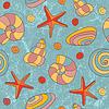 Nahtloses Muster mit Muscheln und Seesternen