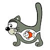 Katze mit Fisch innen