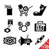 Set von Icons mit Auto-Teilen
