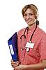 Portret młodej kobiety z lekarzem | Stock Foto