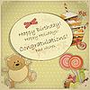Geburtstagkarte mit Bär, Süßigkeiten und Kuchen