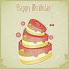 Vintage-Geburtstagskarte mit Kuchen | Stock Vektrografik