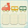 Retro-Hintergrund mit Spielzeug-Zug | Stock Vektrografik
