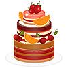Schokoladen-Kuchen Berry | Stock Vektrografik