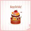 Geburtstagkarte mit Schoko-Kuchen mit Beeren | Stock Vektrografik