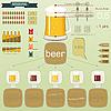 Векторный клипарт: винтажный набор инфографики - пивные иконки, закуска