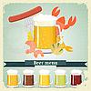 Weinlese-Postkarten, Briefe Menü - Bier, Bier Snack