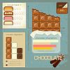 Set von Vintage-Infografiken - Schokolade Symbole