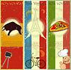 Set Weinlesereise Postkarte - Französisch, Italienisch und Spanisch die | Stock Vektrografik