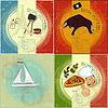 Set Weinlesereise Postkarte - Französisch, Italienisch und Spanisch die