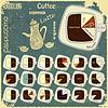 Set von Vintage-Infografiken - Arten von Kaffee-Getränken | Stock Vektrografik