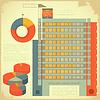Vintage-Set von Infografiken - Hausbau