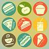 Set von runden Retro-Etiketten mit Lebensmitteln