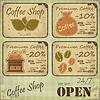 Grunge Kaffee-Etiketten im Retro-Stil