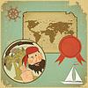 Retro-Karte - Piraten und Weltkarte