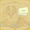 Retro-Karte mit Luftballon