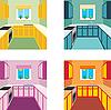 Küche Interieur in vier Farbvarianten. Küchenmöbel