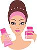 Schöne junge Frau mit einem Kosmetik-Set