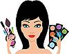 Junge schöne Frau mit Kosmetik in Händen