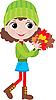 Kleines Mädchen mit Herbstblättern
