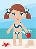 Dziewczynka na wybrzeżu z wiadra | Stock Vector Graphics