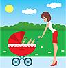 Mutter spaziert mit dem Kind in einem Kinderwagen
