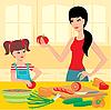 Mama lernt die Tochter vorzubereiten