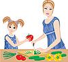 Tochter hilft Mutter schneiden Gemüse