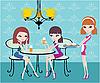 Przyjaciele w kawiarni i kelnerka | Stock Vector Graphics