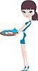 Młoda atrakcyjna kelnerka z tacą | Stock Vector Graphics