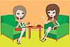 Dwie młode kobiety rozmawiać w fotelach | Stock Vector Graphics