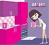Dziewczyna stawia talerze w zmywarce | Stock Vector Graphics