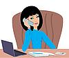 Деловая женщина говорит по телефону | Векторный клипарт