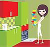 Dziewczyna stawia kubki w zmywarce | Stock Vector Graphics