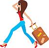 Junge Frau läuft mit einem Koffer