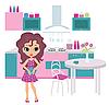 Cartoon dziewczyna w kuchni ponosi czajnik | Stock Vector Graphics
