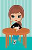 Ładna dziewczyna pije kawę | Stock Vector Graphics
