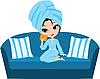 Kobieta w ręcznik kreskówka na kanapie. | Stock Vector Graphics