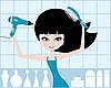 Ładna dziewczyna wysusza włosy | Stock Vector Graphics