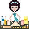 Młoda kobieta przygotowuje ciasto | Stock Vector Graphics