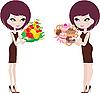Grube i cienkie, dwie kobiety | Stock Vector Graphics