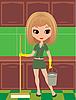 Dziewczyna w rękawice gumowe czyści | Stock Vector Graphics