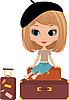 Ładna dziewczyna siedzi na walizce | Stock Vector Graphics