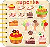 Scrapbook-Elemente mit Kuchen